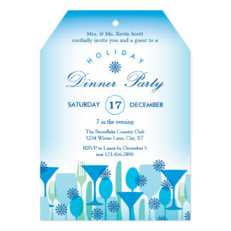 Festive Glasses Holiday Dinner Party Invitation