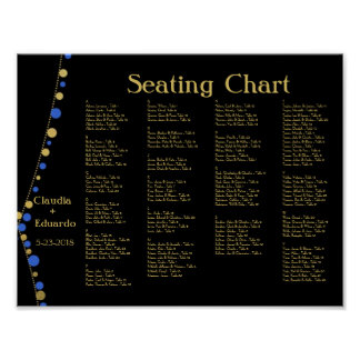 Festive Lights – Royal / Ocean Blue + Gold Poster