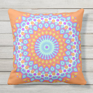 Festive Orange Pink Mandala Design 2 Throw Pillow