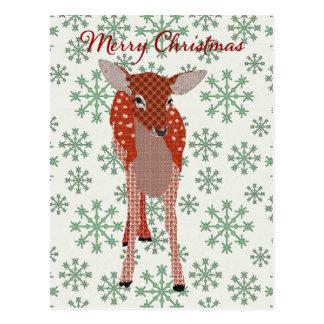 Festive Red Fawn Green Snowflake Postcard Christm