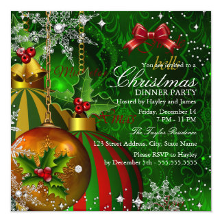 Festive Red Green Gold Christmas Dinner Party 13 Cm X 13 Cm Square Invitation Card
