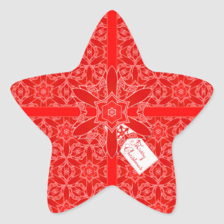 Festive Red Lace Christmas Star Star Sticker