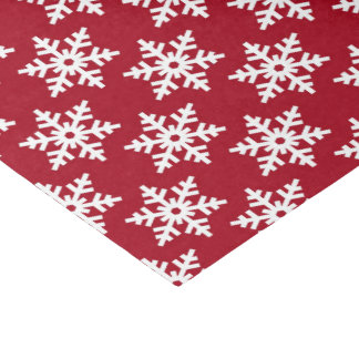 Festive red white snowflake pattern party tissue tissue paper