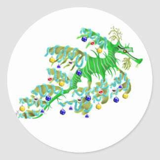 Festive Sea Dragon Round Sticker