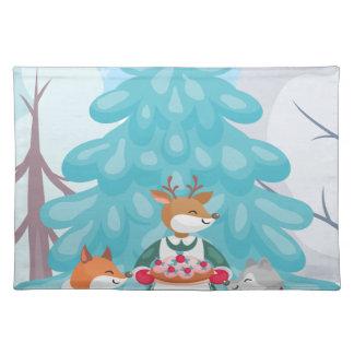 festive snow creatures placemat
