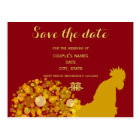 Festive Year Of Rooster Gold Red Chinese Wedding Postcard