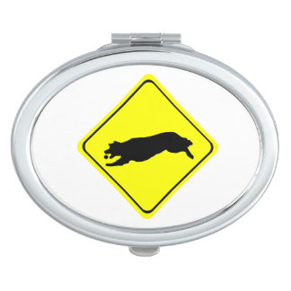 Fetching Golden Retriever Warning Sign Love Dogs Compact Mirror