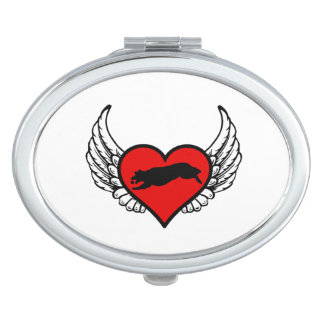 Fetching Golden Retriever Winged Heart Love Dogs Vanity Mirror
