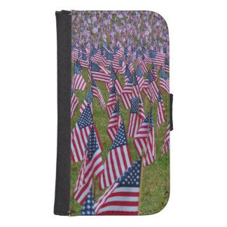Field of US Flags Samsung S4 Wallet Case