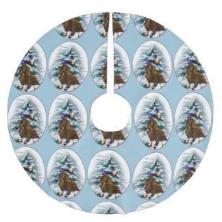 Field Spaniel Christmas Brushed Polyester Tree Skirt