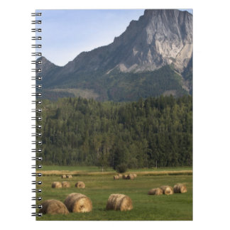 Fields with bailed hay, Alberta, Canada Spiral Note Book