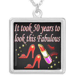 FIERCE AND FABULOUS 50 YR OLD DIVA DESIGN SILVER PLATED NECKLACE