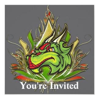 "Fierce Dragon Flames Golden Metallic 5.25"" Square Invitation Card"