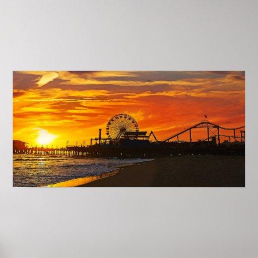 Fiery Sunset at Santa Monica Pier California Poster
