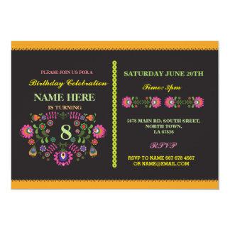 Fiesta Birthday Mexican Floral Pattern Invite