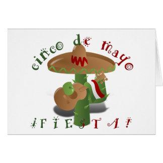 Fiesta Cactus with Guitar & Dancing Peppers Card