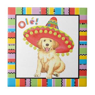 Fiesta Golden Retriever Small Square Tile