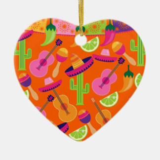 Fiesta Party Sombrero Cactus Limes Peppers Maracas Christmas Ornament