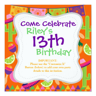 "Fiesta Party Sombrero Cactus Limes Peppers Maracas 5.25"" Square Invitation Card"