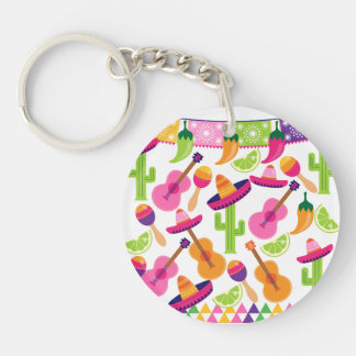Fiesta Party Sombrero Cactus Limes Peppers Maracas Key Ring