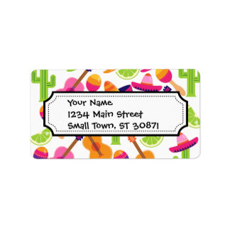 Fiesta Party Sombrero Cactus Limes Peppers Maracas Label