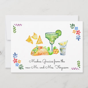 Fiesta Wedding   Tacos and Tequila Thank You Card