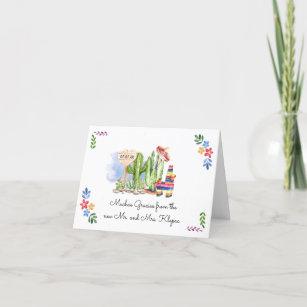 Fiesta Wedding   Watercolor Thank You Card