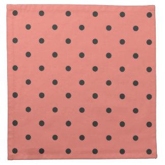 Fifties Style Coral Polka Dot Napkin