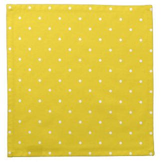 Fifties Style Lemon Yellow Polka Dot Napkin