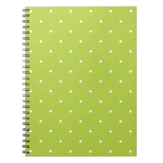 Fifties Style Tender Shoots Green Polka Dot Spiral Note Book