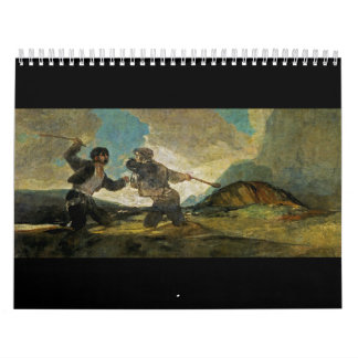 Fight with Cudgels by Francisco Goya c 1820 Wall Calendar