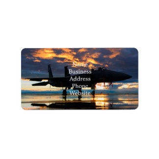 Fighter Jet Airplane at Sunset Military Gifts Address Label