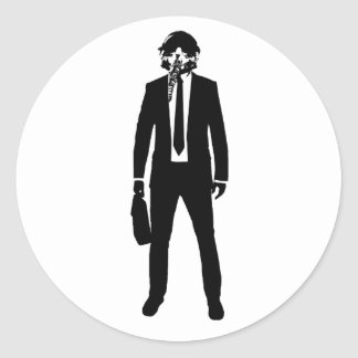 Fighter PIlot Fashion Suit Classic Round Sticker