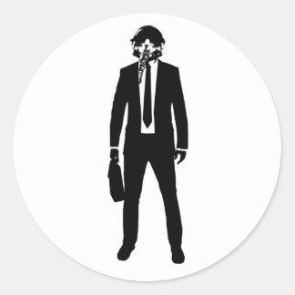Fighter PIlot Fashion Suit Round Sticker