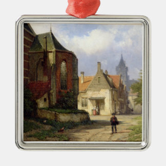 Figure before a Redbrick Church in a Dutch Town (o Silver-Colored Square Decoration