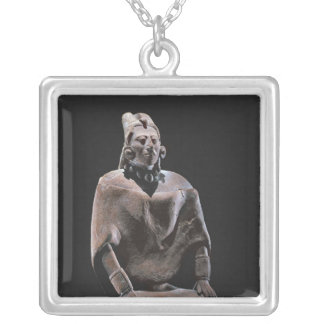 Figure of mayan seated king, from Isle ofJaina Silver Plated Necklace