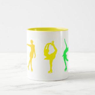 Figure Skaters Pastel Rainbow Two-Tone Coffee Mug
