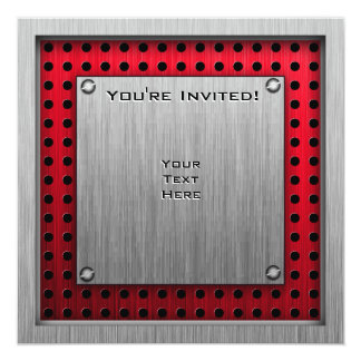 Figure Skating; Red Metal-look Personalized Invitation