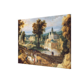 Figures in a landscape with village and castle bey canvas print