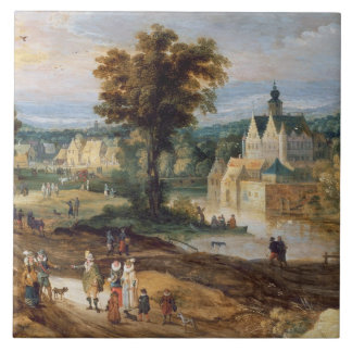 Figures in a landscape with village and castle bey tile