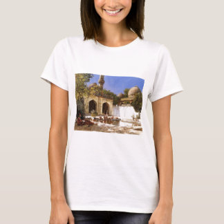 Figures in the Courtyard of a Mosque by Edwin Lord T-Shirt
