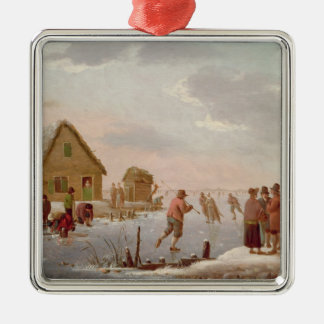 Figures Skating in a Winter Landscape Silver-Colored Square Decoration