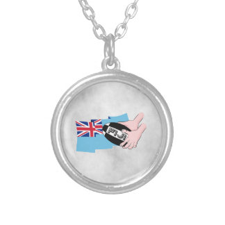 Fiji Flag Rugby Ball Pass Cartoon Hands Silver Plated Necklace