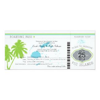 Fiji Islands Boarding Pass Wedding 10 Cm X 24 Cm Invitation Card