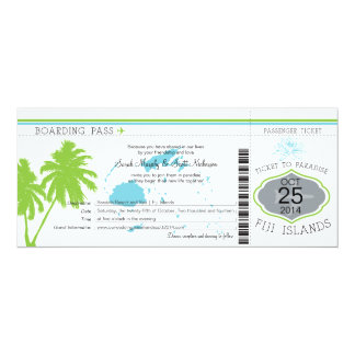 Fiji Islands Boarding Pass Wedding Card