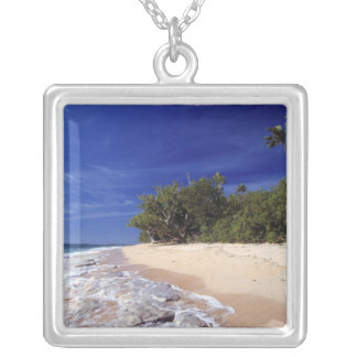 Fiji Islands, Tavarua. This beach on Tavarua, Silver Plated Necklace