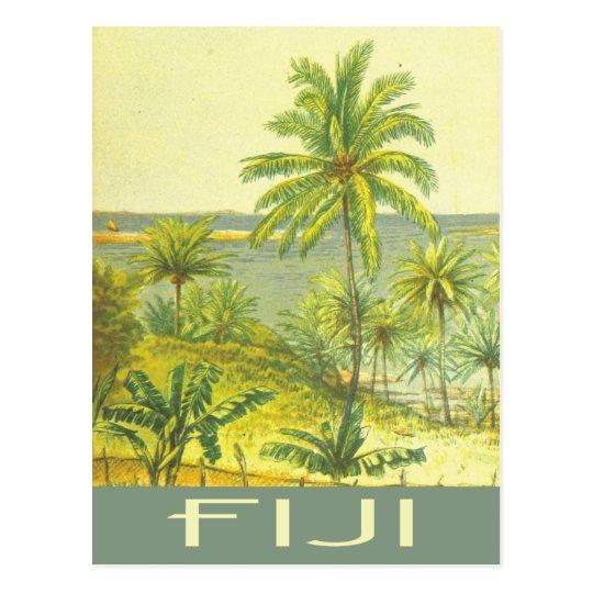 Fiji islands vintage travel style postcard
