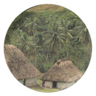 Fiji, Viti Levu, Navala, Traditional Bure houses Plate