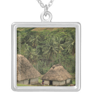 Fiji, Viti Levu, Navala, Traditional Bure houses Silver Plated Necklace