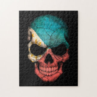 Filipino Flag Skull on Black Jigsaw Puzzle